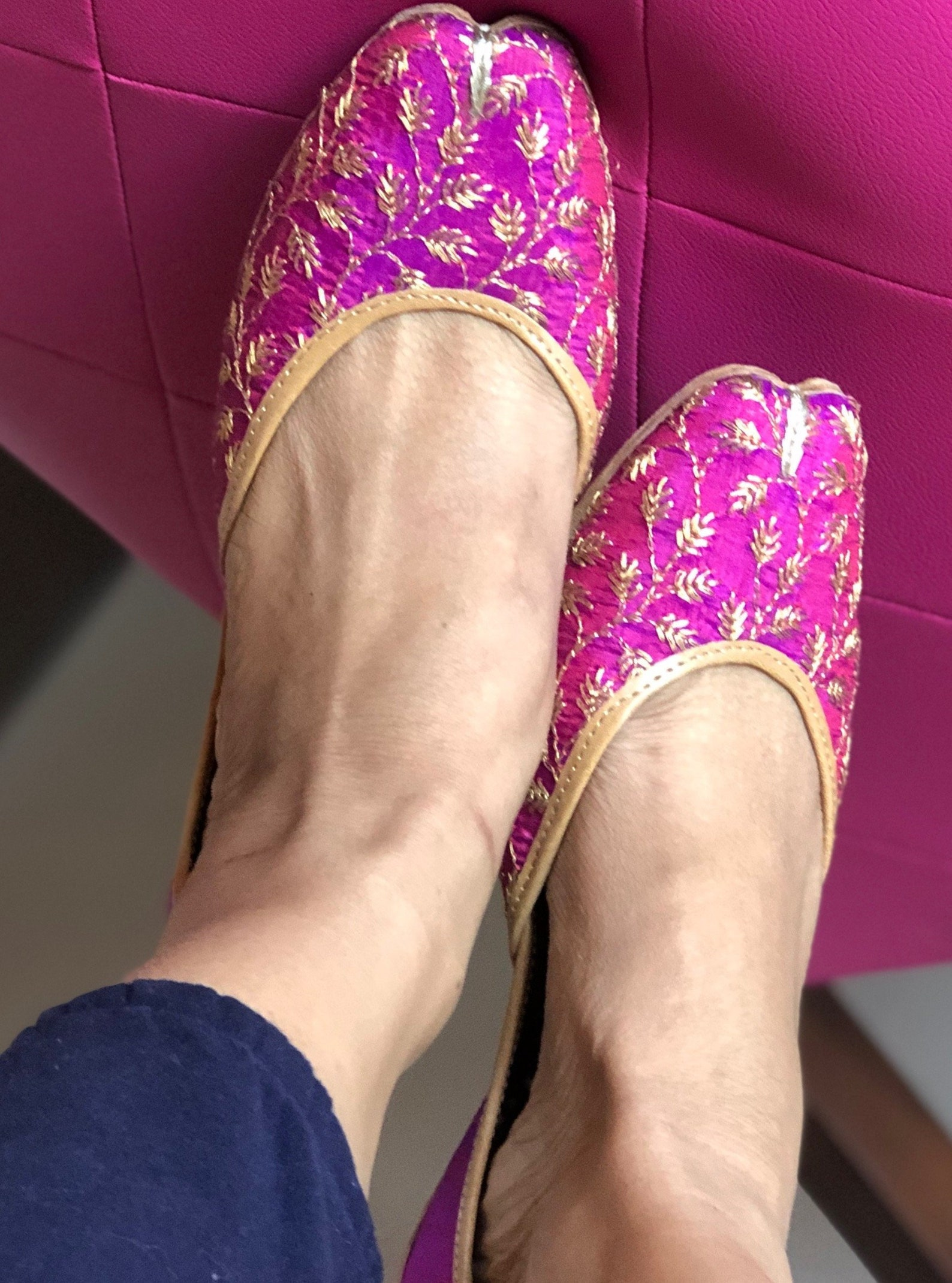 purple gold bridal shoes, gold ballet shoes, embellished wedding shoes, embroidered juttis, indian wedding shoes/ juttis/mojaris