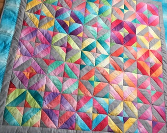 Lap Quilt, Throw Quilt - Rainbow