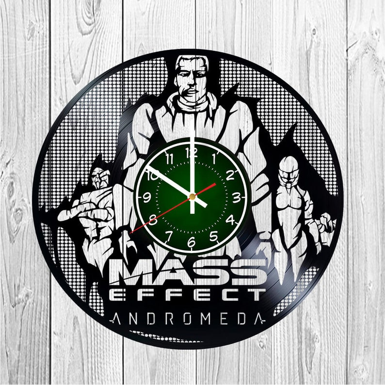 MASS EfFECT: ANDROMEDA Vinyl Record Wall Clock | 12 inches | Andromeda  Initiative | Scott Ryder | Asari Gift | Sara Ryder | RPG Game | Clock