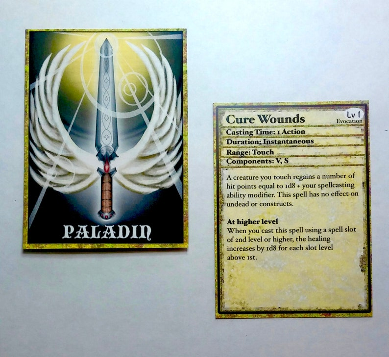 Paladin Spell Cards Dungeons and Dragons 5E Spell Cards for   Etsy