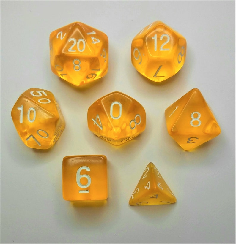 Crystal Yellow Dice Set Dungeons and Dragons DND 5E D&D Polyhedral Dice  Pathfinder RPG role playing game tabletop game Cthulhu dice box set