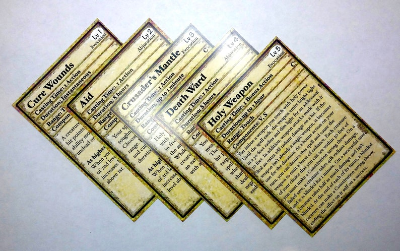Paladin Spell Cards Dungeons and Dragons 5E Spell Cards for | Etsy