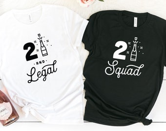 21st Birthday Shirt 21 And Legal Party Shirts Girl Squad Gift Bday Tees