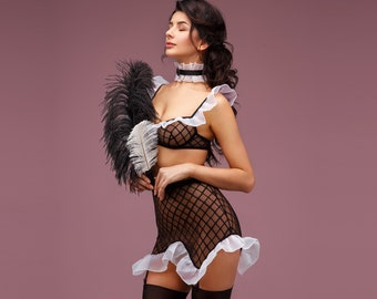 9373c16b9ad Sexy french maid lingerie costume
