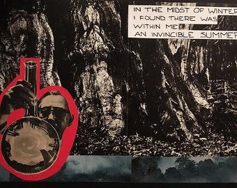 Albert Camus mixed media collage