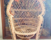 Vintage Wicker Peacock Chair Plant Stand
