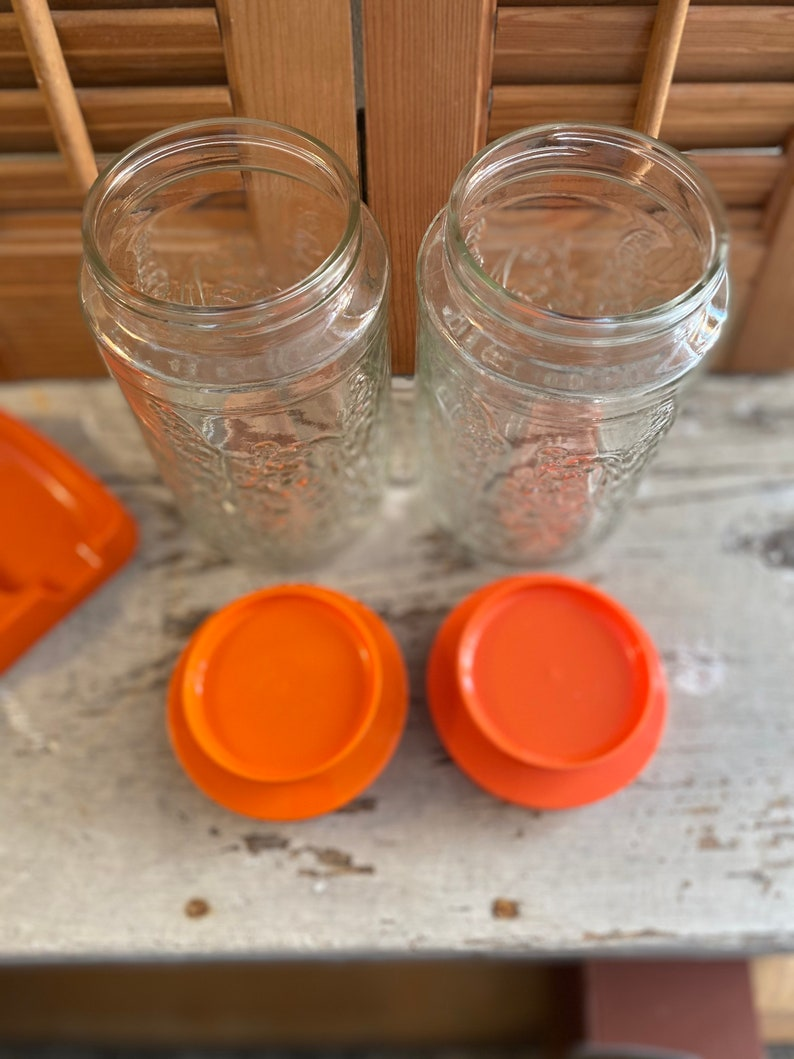 Vintage Anchor Hocking Lilies of the Valley Glass Canisters Bright Orange Lids