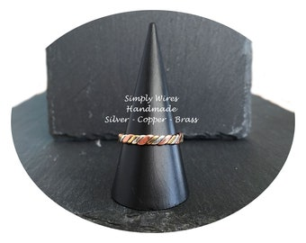 Copper Ring Twisted Wire With Sterling Silver and Brass