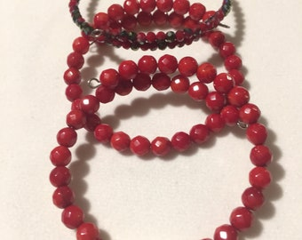 Red Coral and Pearl Triple Set