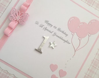 Personalised 1st 2nd 3rd Or 4th Birthday Card For A Granddaughter Daughter Sister Etc