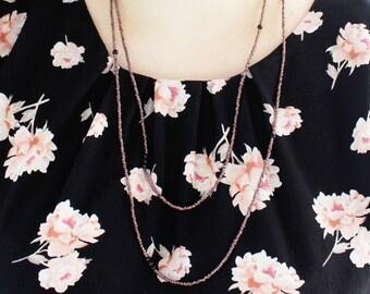 Long purple black beaded necklace // adjustable length // purple and black //
