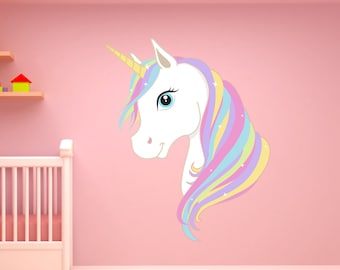 Magical Rainbow Unicorn Wall Sticker Decal Fantasy Art Home Bedroom Nursery