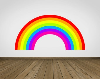 Rainbow Wall Stickers Neon Cute Kids Wall Art Home Bedroom