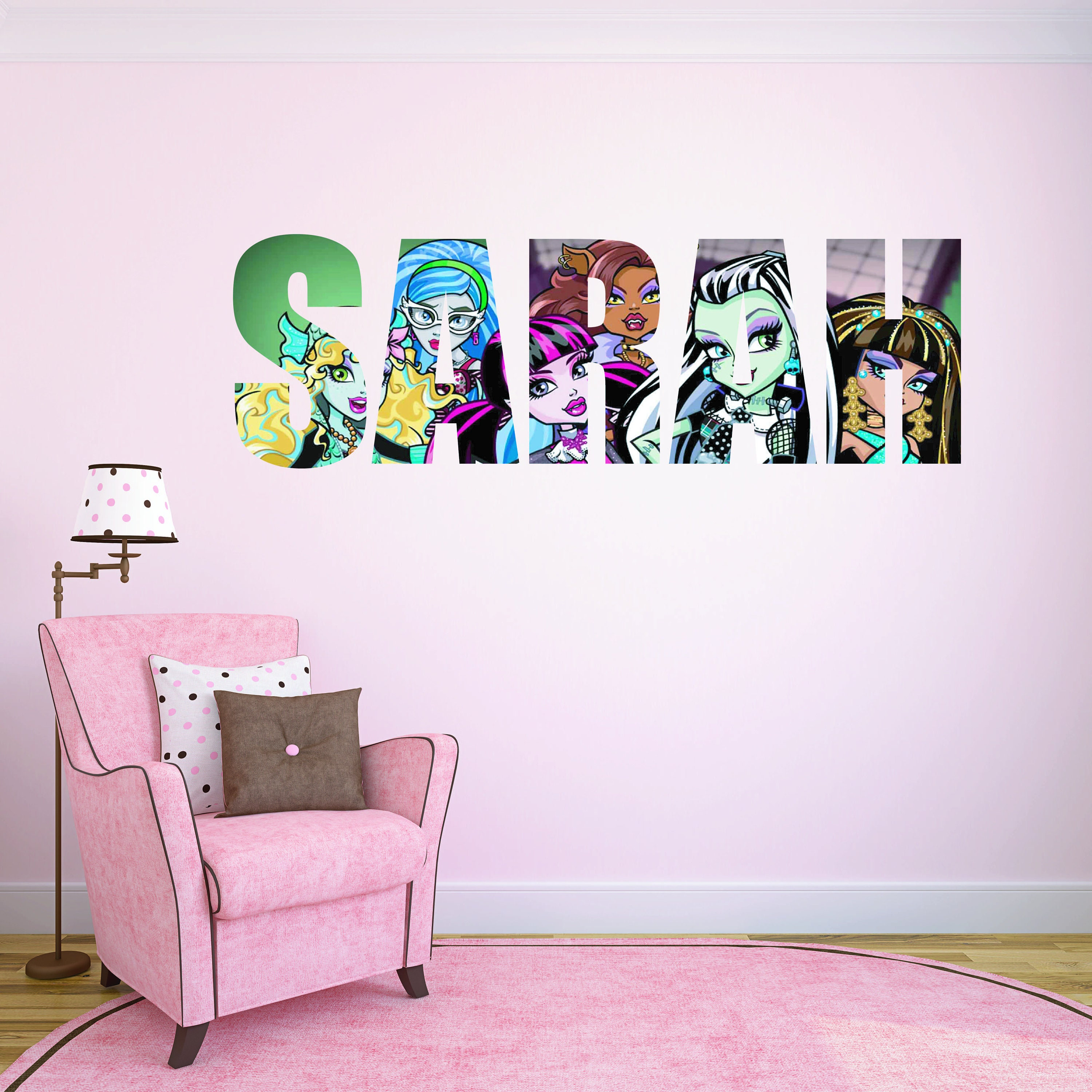Monster High Wall Stickers Kids Personalised Custom Name Etsy