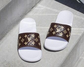 f1662d2a0a9a New Nike Women s Louis Vuitton Monogram Sandals