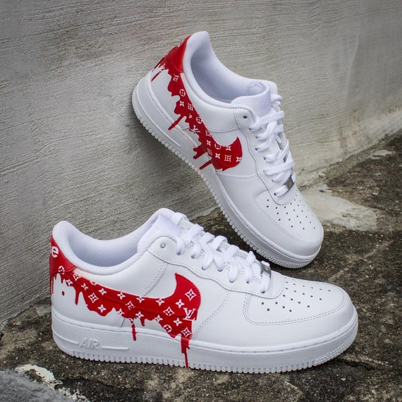 New Nike Air Force 1 Lv Supreme Drip Sneakers Etsy