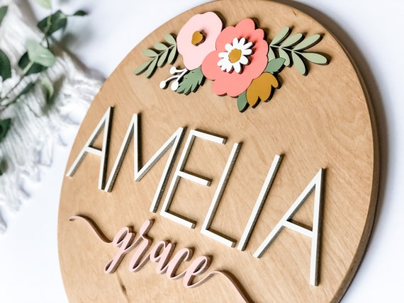 Nursery name sign with flowers // floral round name sign // 3d