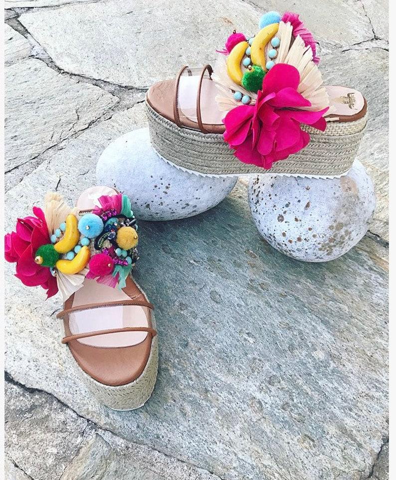 Sample Sale Jute Sandals Women Platforms Handmade Leather Sandals Wedges Espadrille Wedges Leather Platform Sandals Boho Sandals