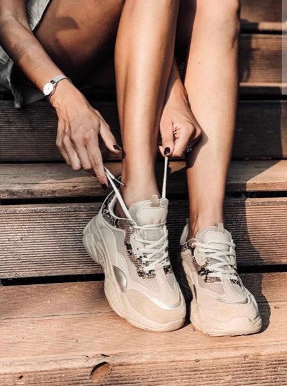 Women Platform Sneakers, Chunky Sole, Wedge Sneake