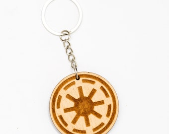 Star Wars Wooden Keychain Galactic Empire Symbol Persolaized Wood Key Ring Star Wars Empire Wooden Engraved Charm Darth Vader Monogram