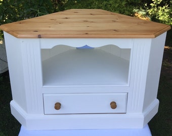 TV & Media Corner Unit with Single Drawer, Solid Pine, White painted, Completely Refurbished, Upcycled