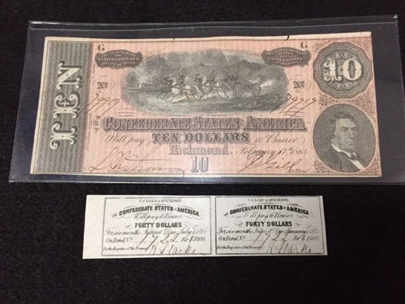 Authentic Civil War Currency Ten Dollar Bill and Bond Interest Coupon