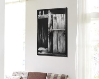 Realistic ethnic drawing on paper, charcoal, old vintage door creative illustration, large canvas craft, wedding gift, home inspiration