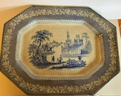 15 quot Antique Blue and White Transferware Platter Tray