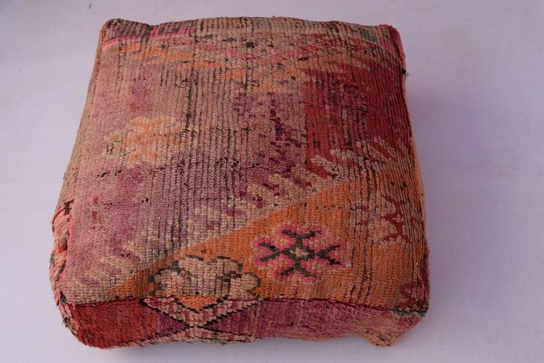 Kilim chair Handmade footstool Berber pouf Vintage Home decor Moroccan furniture Ottoman Multicolor Moroccan pouf  Mariage gift Azilal pouf