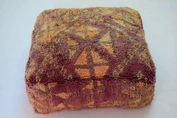 Mariage gift Home decor Moroccan pouf Berber pouf Multicolor Azilal pouf Ottoman Handmade Vintage Footstool Kilim chair Moroccan furniture