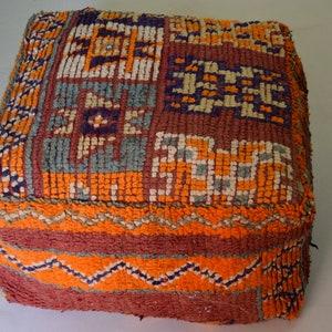 Vintage gift Moroccan poufs Square Berber Ottoman footstool home decor pouffe Handmade Azilal pouf Furniture poufs Floor pillow