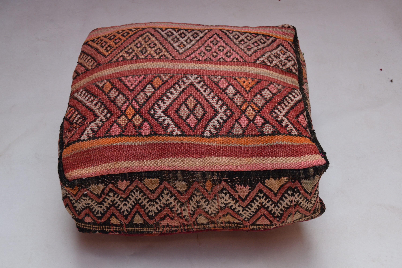 Mariage gift Multicolor Ottoman Footstool Handmade Vintage