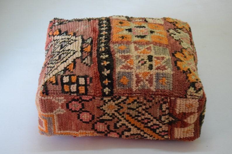Multicolor Berber Azilal Square wool Moroccan pouf Marmusha footstool Floor poufs Handmade wool Vintage Home decor furniture 100/% wool