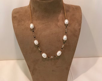 Long Beaded Sterling Silver Pearl Gemstone Necklace