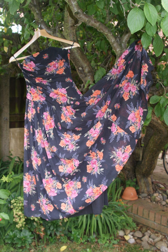 Laura Ashley vintage strapless dress - lined cotto