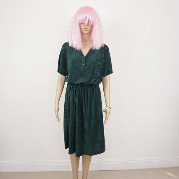 70s Terry Cloth Dress| Vintage Midi Dress