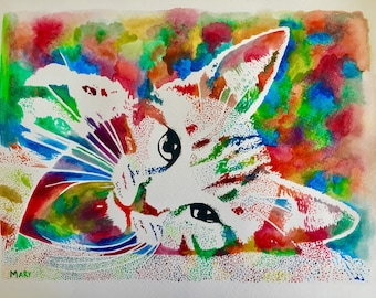 Original watercolor hand painted, cat ' ' 30 x 40 cm