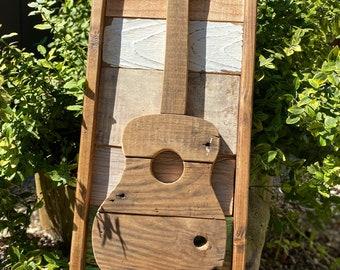 Wood acoustic guitar wall hanging, music decor, guitar art, guitar decor