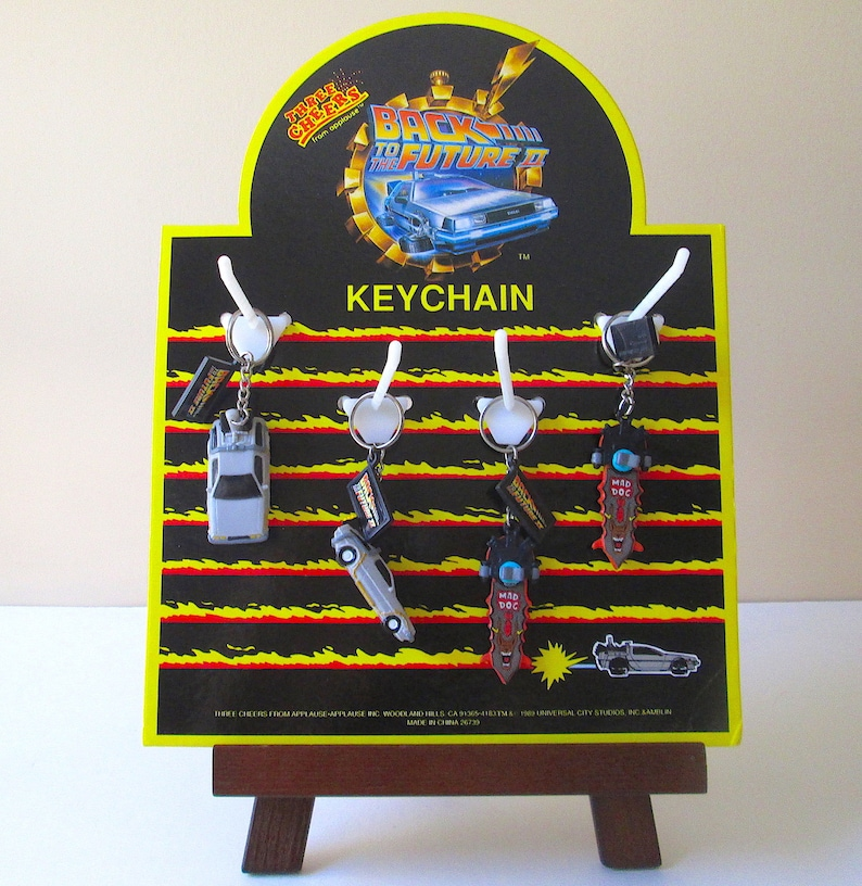Back to the Future II Keychain Display and 4 Keychains by Applause