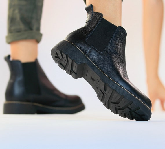 Ema Black leather boots women