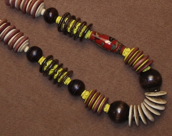 Coconut wood and wood bead necklace