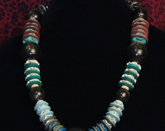 Coconut wood and horn necklace
