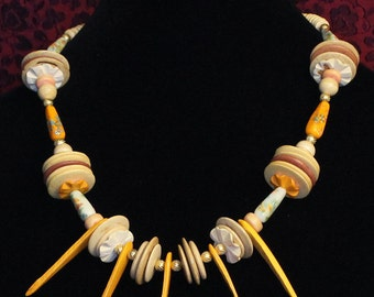 Coconut wood and ceramic bead necklace