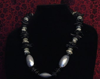 Coconut wood and shell necklace