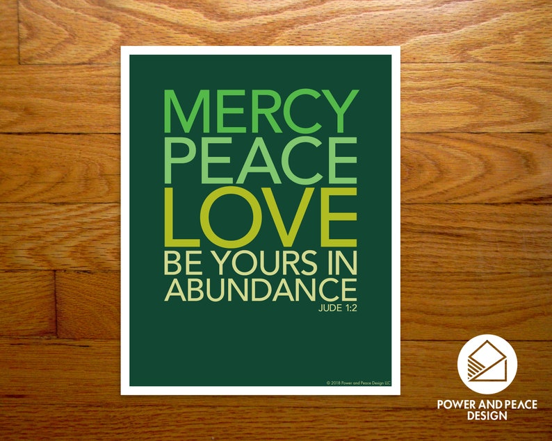 Shades of green Scripture digital print | green Bible verse print | modern  Christian wall art | mercy peace love | evergreen | Jude 1:2