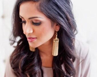 The Carousel -Gold Tassel Statement Earrings