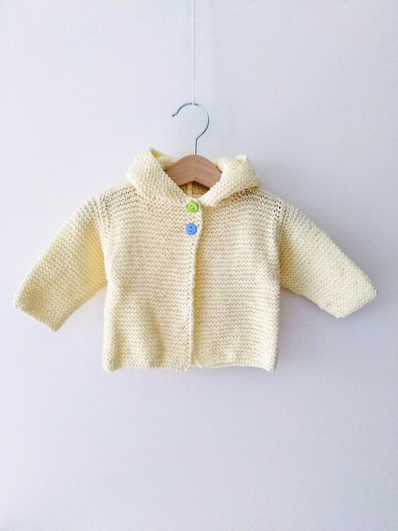 92da9101b Lemon yellow knitted baby hoodie jacket for 0-3 months