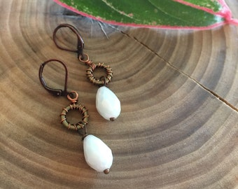 Wire Wrapped Milky Glass Stone Brass & Copper Handmade Earrings