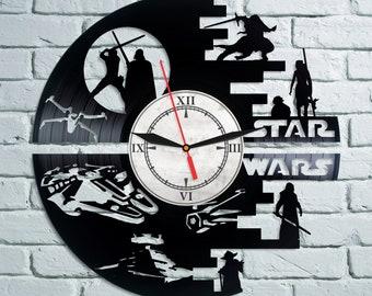 STAR WARS Vinyl Wall Clock Record  Han Solo Gift For Boy Birthday Gift Darth Vader Vinyl Record Wall Clock Wall Clock Modern  Dark Side