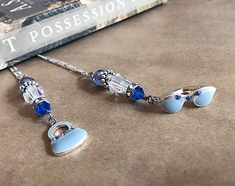 Blue Purse and Sunglasses Fashion Maven Book Thong Bookmark